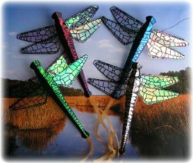 Red and Green Miniature Dragonfly Kites by Tom Tinney